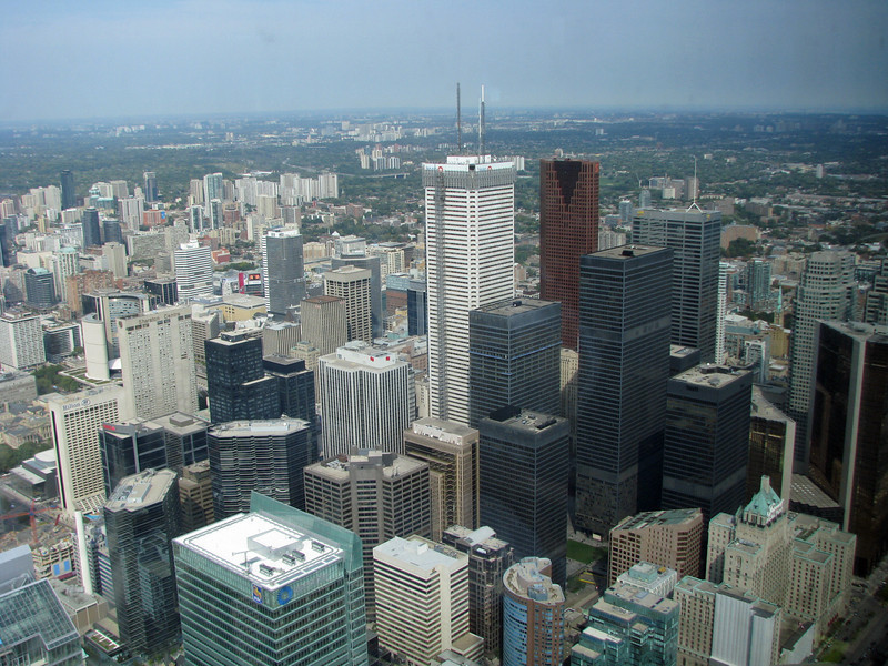 Downtown Toronto as viewed from the observation deck of the CN Tower.