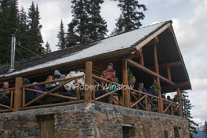 MR, Woman on Balcony, Lake Agnes Tea House, Lake Louise, Banff National Park, Alberta, Canada, North America