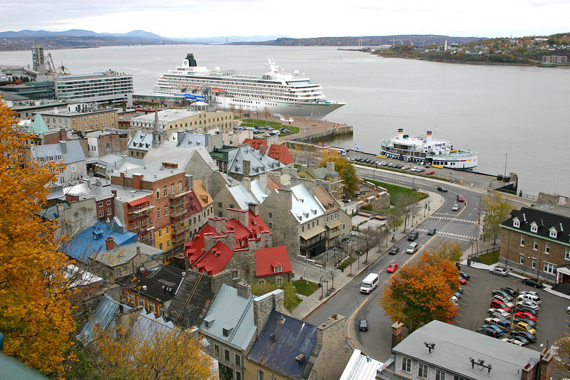 Ships docked along the St Lawrence Seaway in Quebec City, Canada.