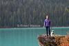 Senior Woman with Minature Schnauzer Dog, Emerald Lake, Yoho National Park, British Columbia, Canada, North America