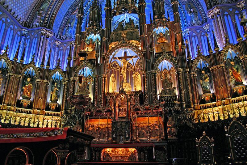 Altar area in Basillica de Notre Dame in Montreal.