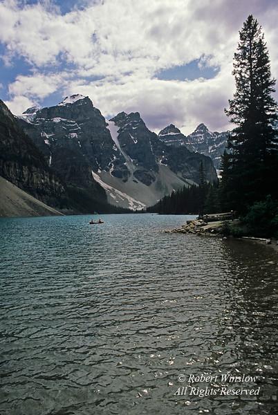 Canoe, Moraine Lake, Banff National Park, Alberta, Canada, North America