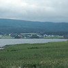 Village of Margaree Harbor on the Margaree River. Misty Mountains beyond.
