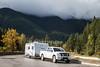 Truck pulling Trailer, Highway 93, Kootenay National Park, British Columbia, Canada, North America