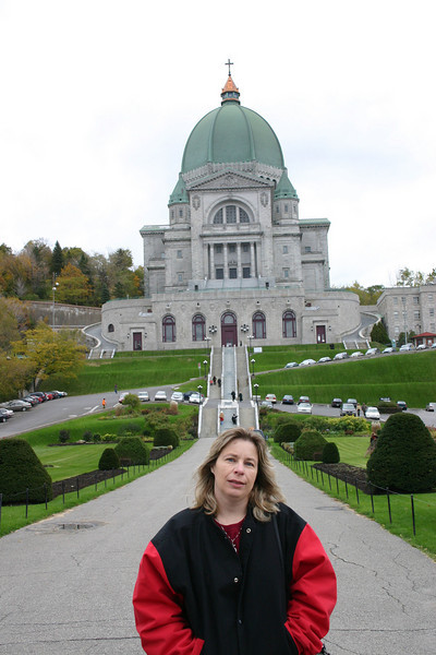 My wife in front of the Oratorie of St Joseph in Montreal.