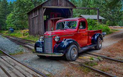 old classic red black truck at mcLean mill 3447hd