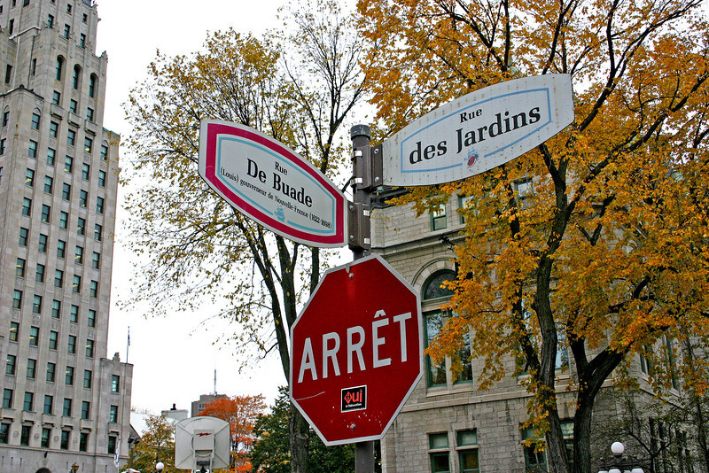 French street signs in Quebec City.