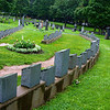 Gravestones from the Titanic are laid out so as to suggest the shape of a sunken ship's hull.<br /> Halifax, Nova Scotia<br /> Copyright 2009, Tom Farmer
