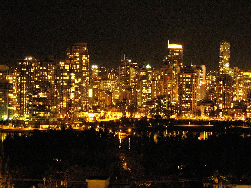 Vancouver, BC night skyline.