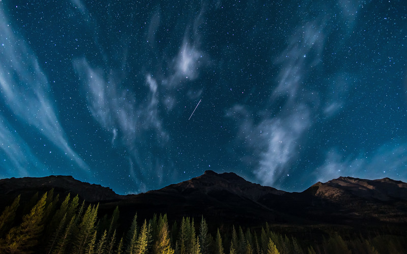 Shooting Star over Mount Whymper<br /> Kootenay National Park, Alberta, Canada