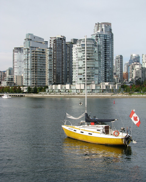 Vancouver, BC harbor and highrises as viewed from Granville Island.