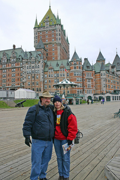 Here we are in front of the Hotel Frontenac in Quebec City.