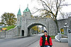 This is one of my favorite pics of my wife.  She's standing in front of the old city wall around old town Quebec City.