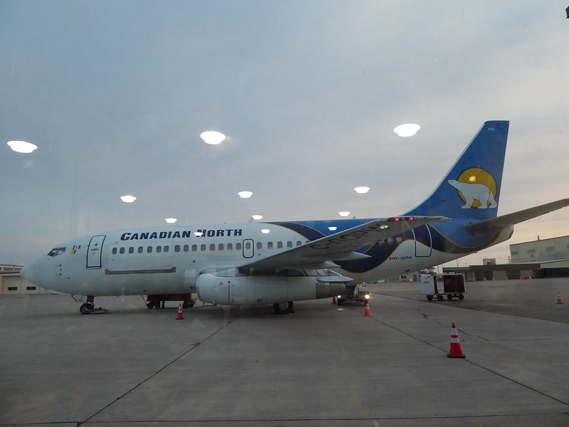 The plane on the Tarmac in Edmonton. Had to do a refuelling stop in Yellowknife en route to Resolute Bay, probably to ensure that the plane could return safely as far as Yellowknife as there isn't much in Resolute.