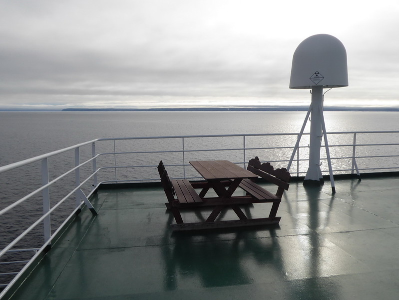 Not sure anyone used the picnic table on the top (7th) deck of the Vavilov as the highest temperatures we saw were about +5 C.