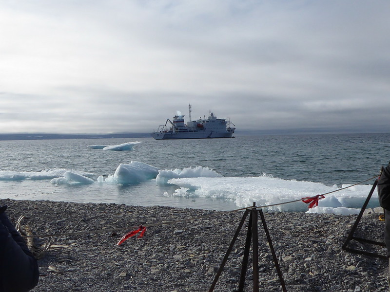 Our ship, the Akademik Sergey Vavilov, and the icy shore. We heard that there was considerable snow in Resolute by the time we returned through Iqaluit.
