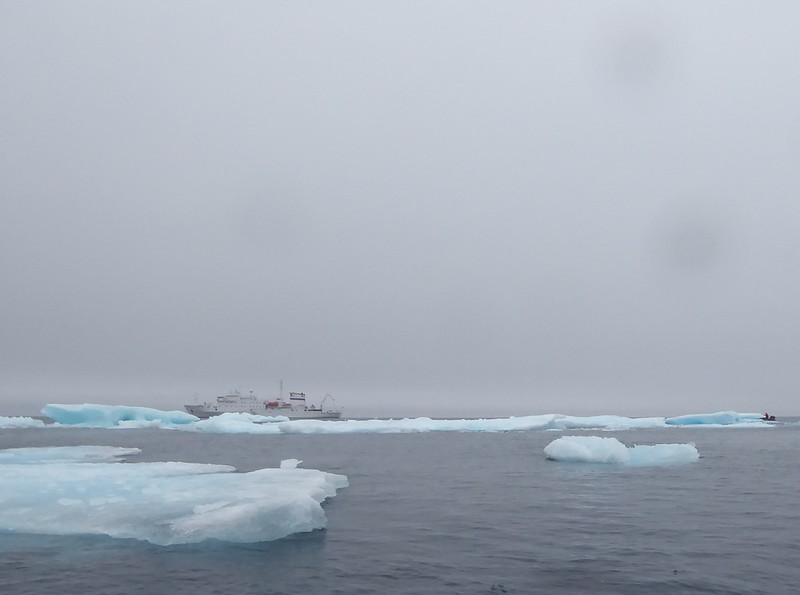 By the time we got near the ship, the winds had shifted and many ice floes had blown in.