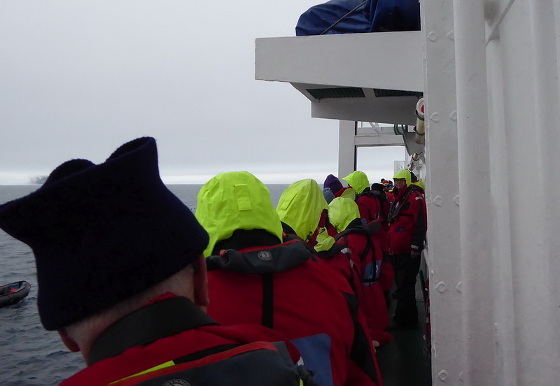Lining up to get on the Zodiacs.