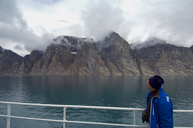 Bob looking at scenery at Gibbs Fjord<br /> Photo by Justin Peters.