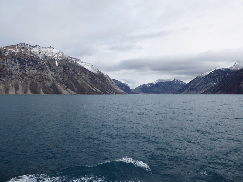 Gibbs Fjord with a fresh dusting of snow on top of the rock formations.