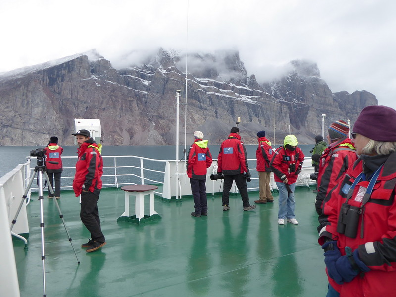 Many people on deck 7 in Gibbs Fjord.