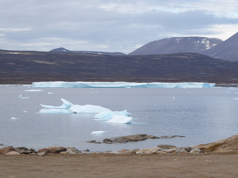 A tabular iceberg in the large harbour.