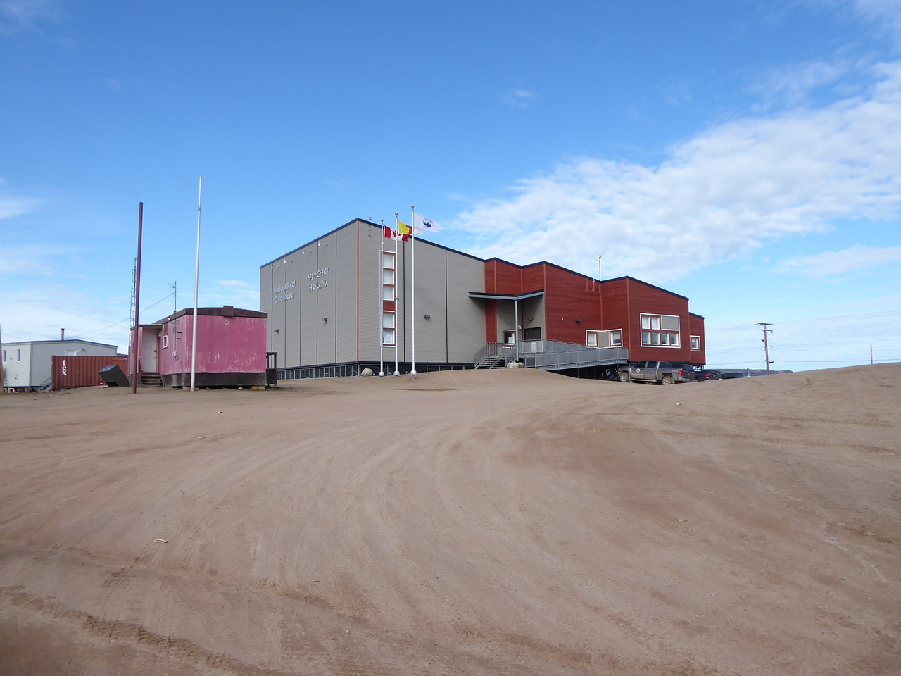 The new community hall in Qikiqtarjuaq. Most buildings in Nunavut are built on stilts because they sit on permafrost, which if it thaws because of the building will cause undesired settling.