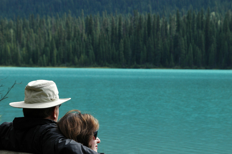 Elliot and Judy enjoy the view at Emerald Lake