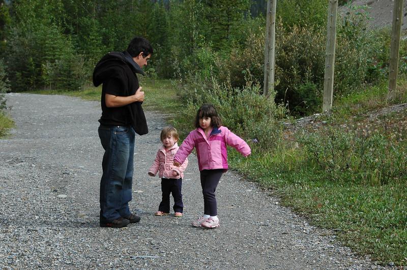 Norman, Natalie, and Samantha walking back from Mistaya Canyon