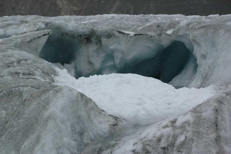 An ice cave on the Athabasca Glacier
