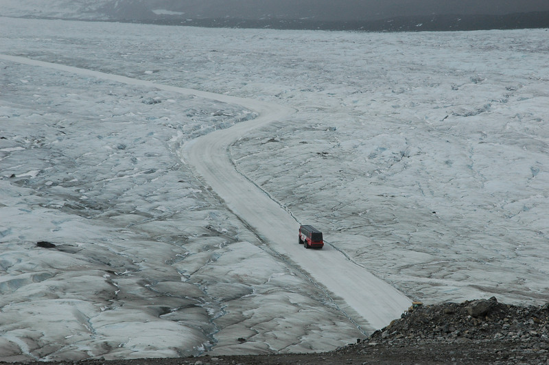 A SnoCoach makes its way out to the Athabasca Glacier