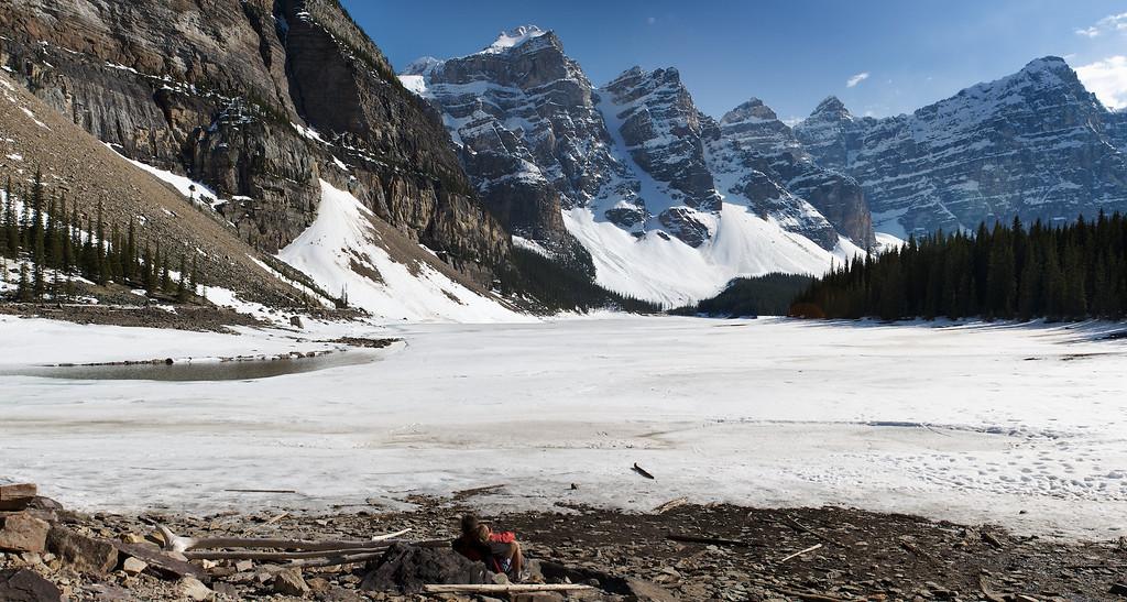 Frozen Moraine Lake panoramic