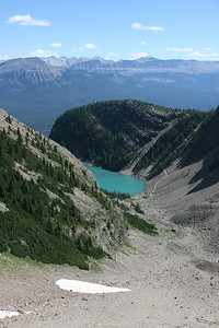 Looking back to Lake Agnes which sits above Lake Louise.
