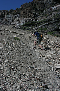 Steep and slippery scree slope.