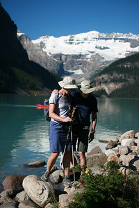 Let's not start the day by falling in Lake Louise!