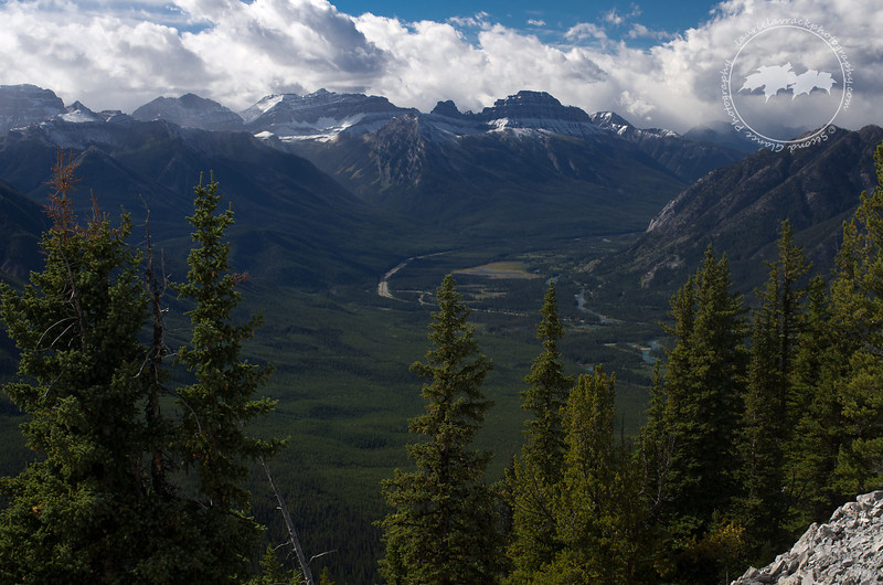 Bow Valley, looking toward Lake Louise, as seen from the Banff gondola lookout