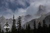 Clouds descend upon nearby mountains along the Icefields Parkway, Banff National Park