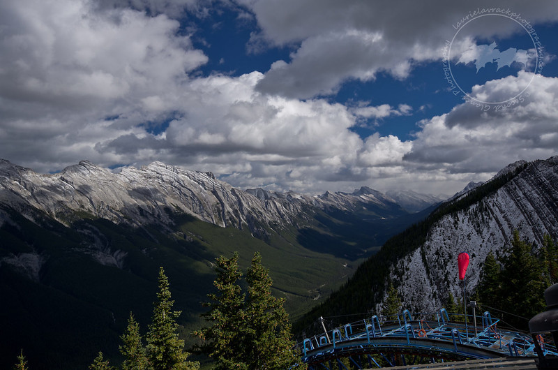 View of mountain range behind Mount Rundle as seen from the lookout from the Banff gondola
