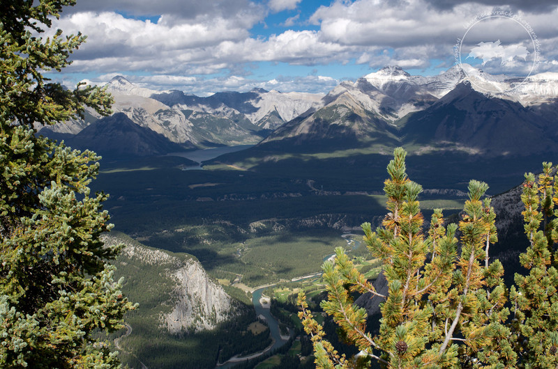 Lake Minnewanka and valley near the town of Banff as seen from the Banff gondola lookout