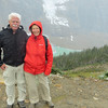 Snow flurries at a lookout to Mount Cavell
