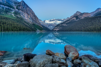 Lake Louise before sunrise.  Love that turquoise color