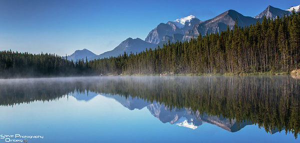 Herbert Lake - shortly after sunrise with fog lifting