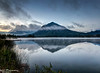 Vermillion Lakes, Banff - at sunrise with fog, lake mist, and mirror-like reflections