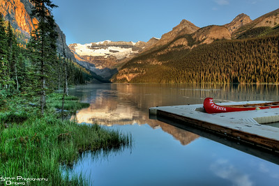 Lake Louise by the boat house at Sunrise