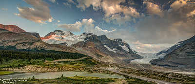 Columbia Icefields from Galcier Inn lodge as sun sets
