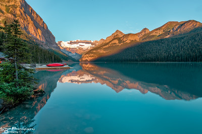 Lake Louise near boat house at sunrise