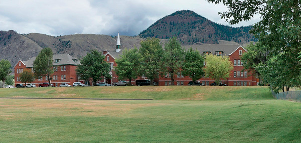 Site of the former Kamloops School which opened in 1893 until 1977. Hundreds of Secwepemc children attended the school, often forcibly removed from their homes once attendance became mandatory by law.  Children were not allowed to speak their native Secwepemctsin language or practice their own spirituality.