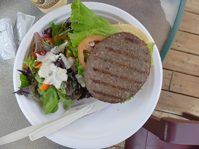 Bison burgers for lunch at Hat Creek Ranch