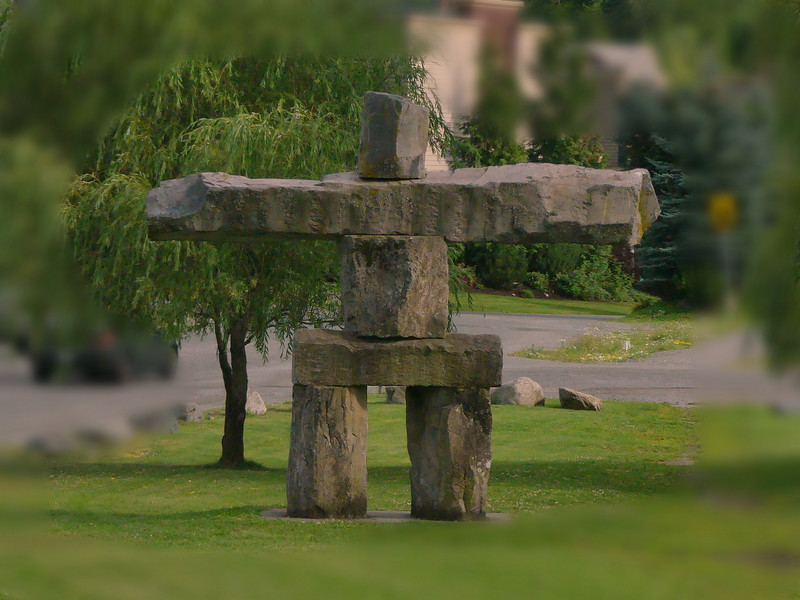 Inukshuk. Logo of the 2010 Vancouver Olympics.   A human-made stone landmark or cairn used by the Inuit, Inupiat, Kalaallit, Yupik, and other peoples of the Arctic region of North America.