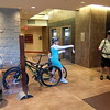 Bike Check-In at our hotel. Your bike gets tagged and stored for you.